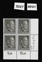 #5027 MNH Stamp block / Adolph Hitler, 20GR MNH 1941 German Occupied Poland WWII