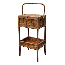 Antique Victorian Wicker Sewing Stand Basket Table by Heywood Wakefield