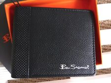 BEN SHERMAN Black Blue Leather Bifold WALLET Notes Card BRAND NEW IN BOX