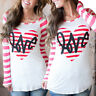 Women Valentine's Day Gift Heart Printed Long Sleeve O-Neck Tops Blouse T-Shirts