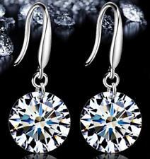 Women Silver Plated Round Crystal Dangle Stud Earrings Ear Hook Vintage Jewelry