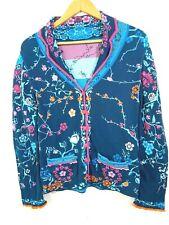 IVKO Reversible Anthropologie Cardigan Sweater Blue Floral Long Sleeve S 36 F3