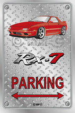 Parking Sign Metal Mazda RX7 Series 4 - Red with momos - Checkerplate Look