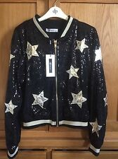 Ladies Black & Gold Star Sequin Bomber Jacket