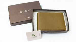 Gucci Men's Olive Green Leather Bi-fold Wallet 292534 2402