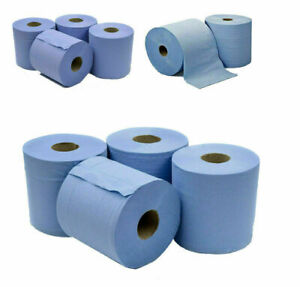 6 PACK  BLUE ROLL 2Ply Centrefeed Rolls Paper Hand Towels Absorbent Made In UK