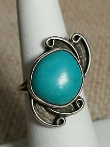 """Vintage Old Navajo Silver Turquoise Ring Size 6 Signed DWA Decor Stone 1"""" Long"""