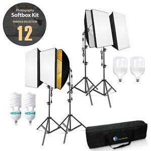 """Photo Studio Lighting 24""""x16"""" Softbox with 82.3"""" Light Stand, Carry Bag, Bulbs"""