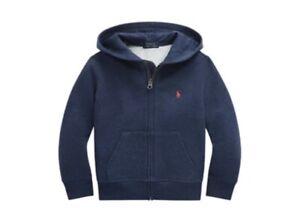 NWT New Ralph Lauren POLO Boy Grey Logo Cotton Blend Fleece Hoodie Jacket Size 7