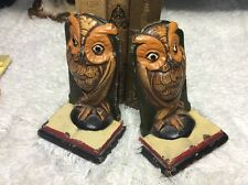 Vtg Hubley Cast Iron Owl Bookends Nicely Stamped #3