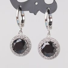 Delicate black sapphire 18k white gold filled cool stylish woman dangle earring