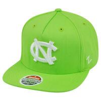 NCAA North Carolina Tar Heels Neon Green Snapback Flat Bill Zephyr Popsicle Hat