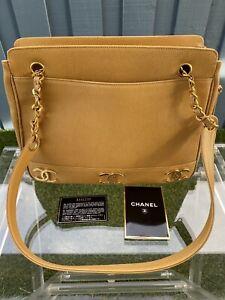 Chanel Vintage Triple CC Logo Beige Gold Caviar Tote Shoulder Bag