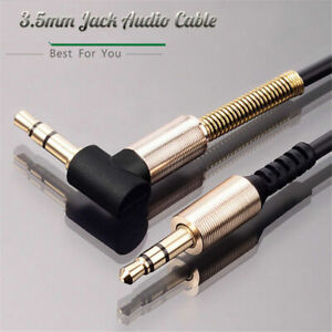 90 Degree Nylon Braid Phone Right Angle Aux Cord Male to Male 3.5mm Audio Cable