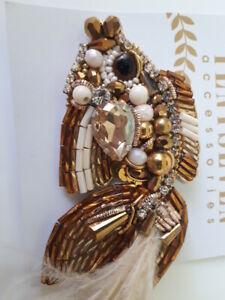 SPILLA PESCE ORO coccarda perline handmade gioiello accessorio donna moderna