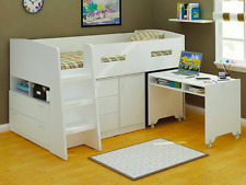 KING SINGLE CABIN BUNK BED LOFT MIDI SLEEPER DESK DRAWERS IN WHITE