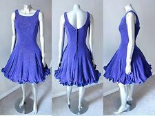 Retro Embellished Vintage 80s Swing Dance Party Royal Blue Cocktail Dress S