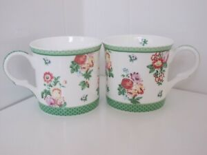 V&A Fine Bone China Floral Mugs - Green Border x 2 VGC