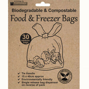 100% Biodegradable & Compostable Food & Freezer Bags (30), ECO Friendly