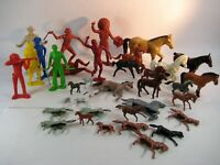 34 Piece Lot Marx Toy Figures Wild West Cowboys Indians Horses Free Shipping