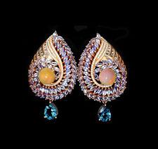 48 x 28 mm. 925 Sterling Silber Ohrringe Rotgold beschichtet Opal Tansanit Topas