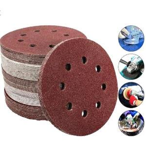 "150pc 5"" 8 holes Sanding Paper Discs 40-240 Grit Orbital Round Sander Pads 125mm"