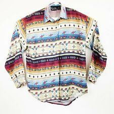 Lemon Grass Womens Aztec Multi-color Long Sleeve Button Front Shirt Size L  LNC