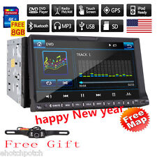 "7"" HD Touch Screen Double 2 DIN Car Stereo DVD CD Player Bluetooth Radio GPS Nav"