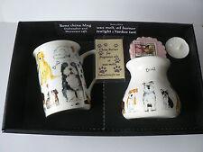 Dogs Mug & oil burner gift set -Gift box mug, oil burner Yankee melt t.lite