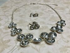 Vintage Signed LBVYR Jewelry Set Silver Tone w Crystals Necklace Ring Earrings