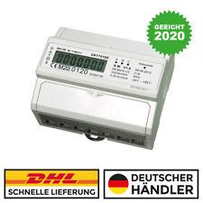 LCD Drehstromzähler geeicht für Hutschiene + S0  3x230/400V  100A Stromzähler