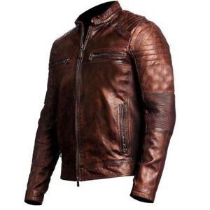 Men's Biker Vintage Motorcycle Distressed Brown Cafe Racer Leather Jacket BNWT