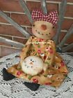 Primitive Snowgirl Doll w Snowman Ornie Winter Christmas Decoration