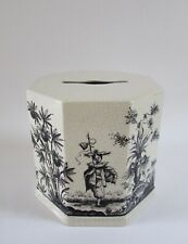 VTG Italy Ceramic Asian Chinoiserie Tissue Holder Cover