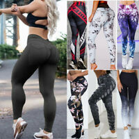Women High Waist Stretchy Yoga Leggings Fitness Workout Push Up Pants Trousers