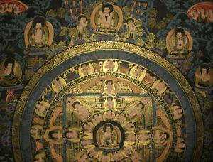 SCHWARZGRUND THANGKA Mandala + Buddha Nepal FEIN + VIEL GOLD 36x29 cm