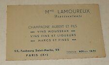 Ancienne CARTE de VISITE Représentante CHAMPAGNE AUBERT et Fils Vins Mousseux...