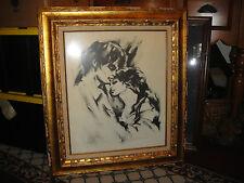 Hyacinthe Kuller Drawing Entitled When Love Comes-Framed-Signed-Black & White