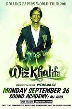 Wiz Khalifa / Reema Major 2011 Toronto Concert Tour Poster - Rap, Hip Hop Music
