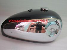 NEW BSA A7 A10 BLACK PAINTED CHROME PETROL TANK WITH PETROL CAP