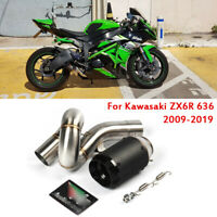 For Kawasaki Ninja ZX6R ZX636 2009-2019 Middle Link Pipe Slip On Exhaust Muffler