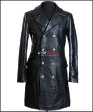 German General Major Men's Military Style Real Cowhide Leather Jacket Long Coat
