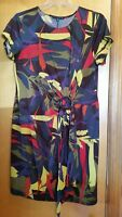TIANA B WOMAN Tropical Print Short Sleeve Stretch Knit Faux Wrap Dress Plus 1X