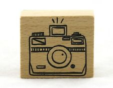 Flash Camera Wood Mounted Rubber Stamp American Crafts NEW vacation travel art