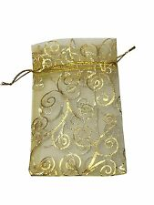 SUNGULF 100Pcs Sheer Organza Drawstring Pouches Vine Wedding Gift Bags Gold 3x4