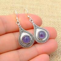 Tanzanite 925 Silver Blue Ethnic Teardrop Drop Earrings Indian Jewellery