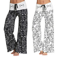 Womens Cat Printed Palazzo Pants Long Loose Yoga Lounge Sports Wide Leg Trousers