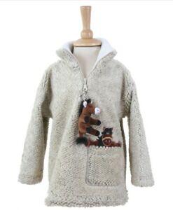 Children's Dangly Horse Zip Neck Fleece With Keyring - Pebble