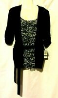 NEW WOMEN'S INC BLACK GRAY ANIMAL PRINT 3/4 RUCHED SLEEVE TOP WITH BELT SIZE XL