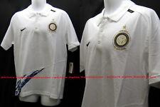 NEW Vintage Nike Inter Milan Calcio Polo in cotone bianco L